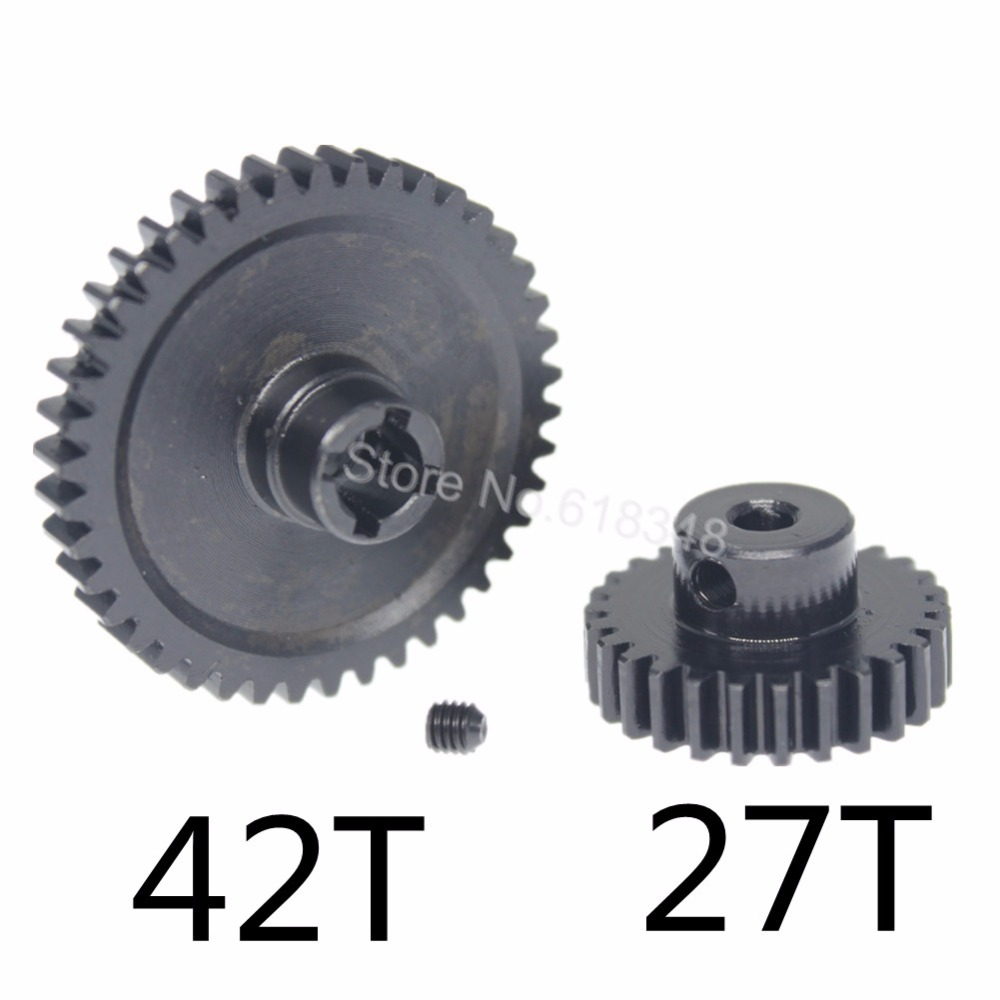 Metal Steel 42T Spur Gear Diff Main & Motor Pinion Gear 27T For WLtoys A959-B A969-B A979-B K929-B Replacement of A959-B-15 2pcs metal wltoys a959 steel diff main gear 38t