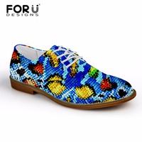 FORUDESIGNS Business Casual Male Leather Oxford Shoes For Men Serpentine Printed Lace up Shoes Spring Flat Shoes Zapatos Hombres