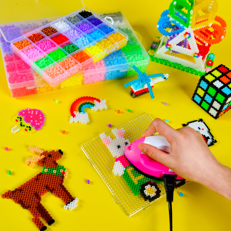 24 colors children DIY beads for 3D animal/cartoon blocks/ Kids kindergarden school art craft 3D beads toys with iron,free ship