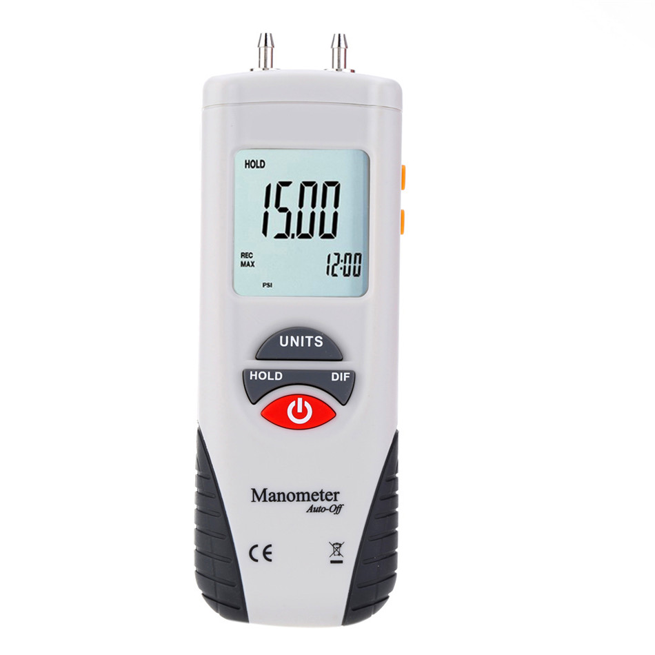HT-1890 Digital Manometer Air Pressure Meter Pressure Gauges Differential Gauge Kit portable lcd digital manometer pressure gauge ht 1895 psi air pressure meter protective bag manometro pressure meter
