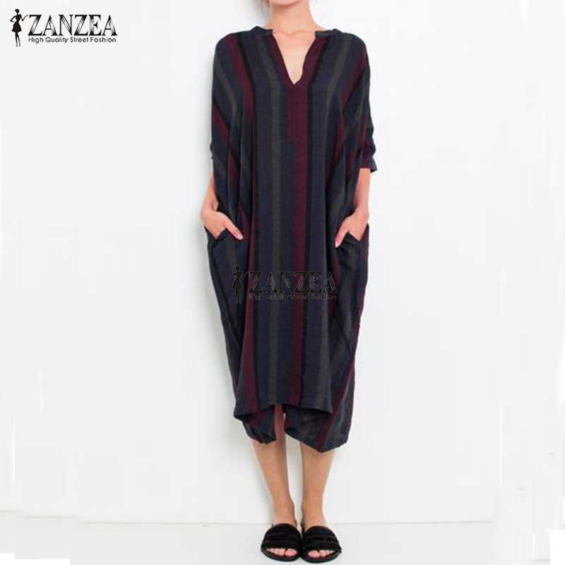 ZANZEA Brand Women Dress 2018 Autumn Vintage Striped Print Dresses Ladies V Neck Casual Loose Cotton Vestidos Plus Size S-5XL