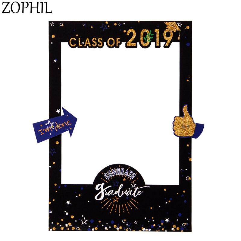 ZOPHIL Graduation 2019 Big 63x43cm Photo Prop Congrats Selfie Frame Party Decorations Favors Class of I am Done
