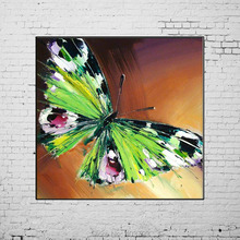 Hand Painted Oil Painting on Canvas Art Green Butterfly for Living Room Decor Abstract Animals No Frame Paintings