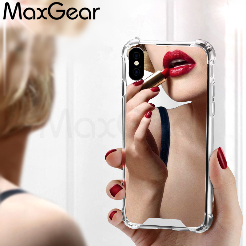 MaxGear Luxury Shockpropf Mirror <font><b>Phone</b></font> Cases for iPhone 7 7 Plus TPU PC Back Protect Case for iPhone X 6 <font><b>6S</b></font> 8 Plus Cover Cute