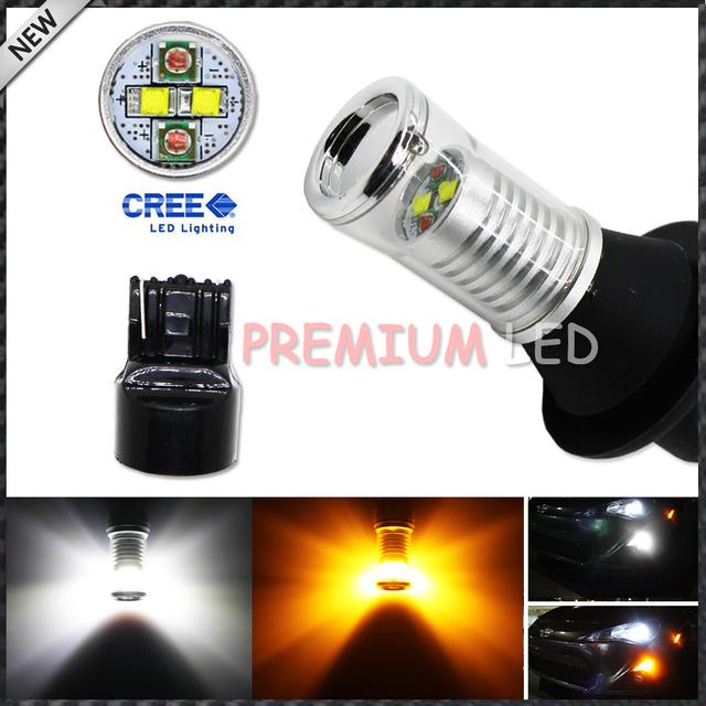 No Hyper Flash 7440 T20 CRE'E Blanco/Ámbar Switchback Bombillas LED w/Diseño Del Espejo Reflector De Luces Direccionales Delanteras o DRL