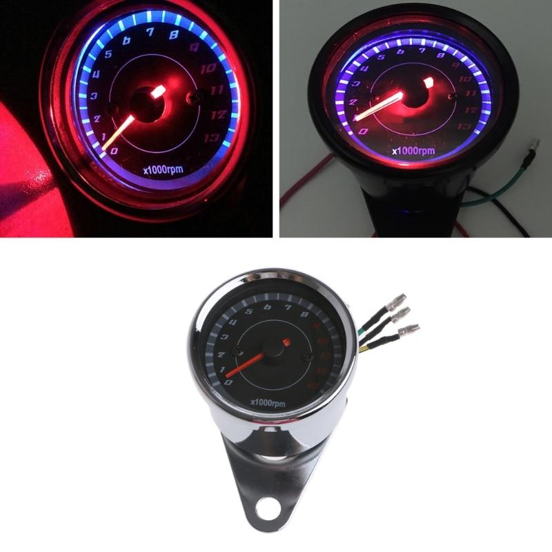 все цены на Universal LED Motorcycle Tachometer DC 12V Meter 13K RPM For Honda Yamaha Suzuki Drop shipping