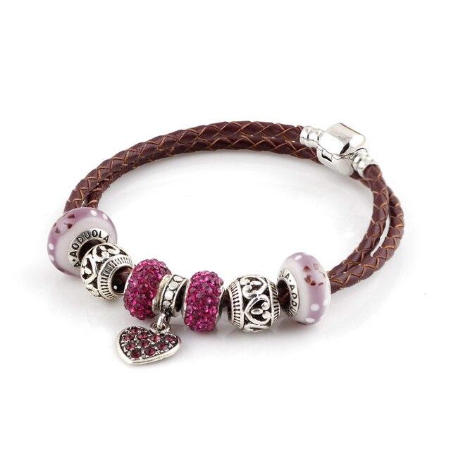 Lato w stylu fioletowe koraliki prawdziwej skóry bransoletka łańcuch nadające się do Charms bransoletki DIY stop metali szkła europejski Big Hole koraliki