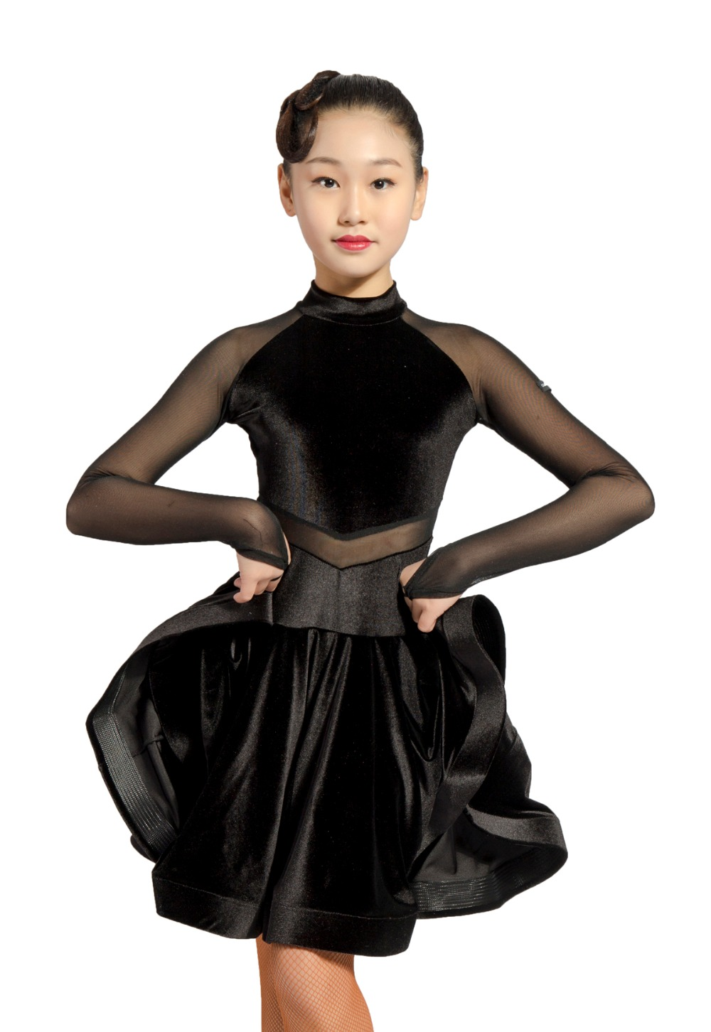 GD3102 kid latin ballroom party dance professionnel net fil et velours épissage conception performance robe pour fille - 2