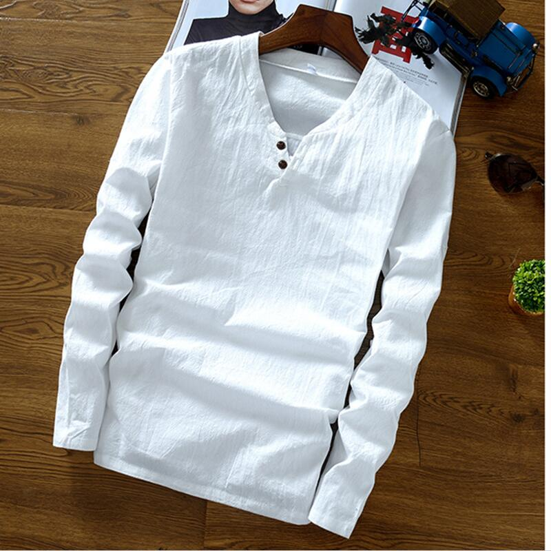 2019 Autumn Men's Long Sleeve Mandarin Collar Cotton Linen Shirts,Plus Size M-6XL 7XL Spring Linen Blouse Black Blue White Shirt