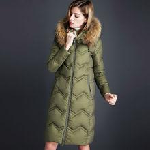Новые Поступления 2016 Осень И Зима пуховики пальто женщин Меховой воротник Моды Тонкий высокое качество