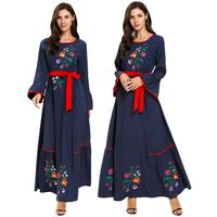 Flower Embroidery Kaftan Abaya Maxi Dress Muslim Women Dubai Flare Sleeve Long Robes Cocktail Party Gown Vintage Middle East Plus Size