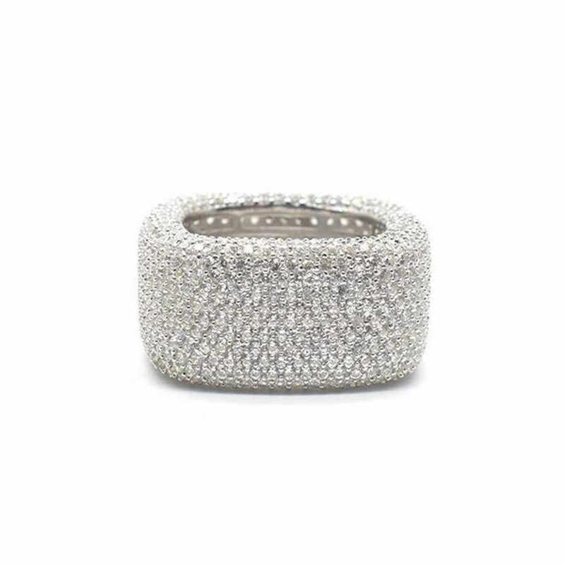 Vecalon Luxe Bague de Promesse 925 en argent sterling 450 pièces Zircon Fiançailles Cz anneaux De Mariage pour les femmes Hommes Bijoux