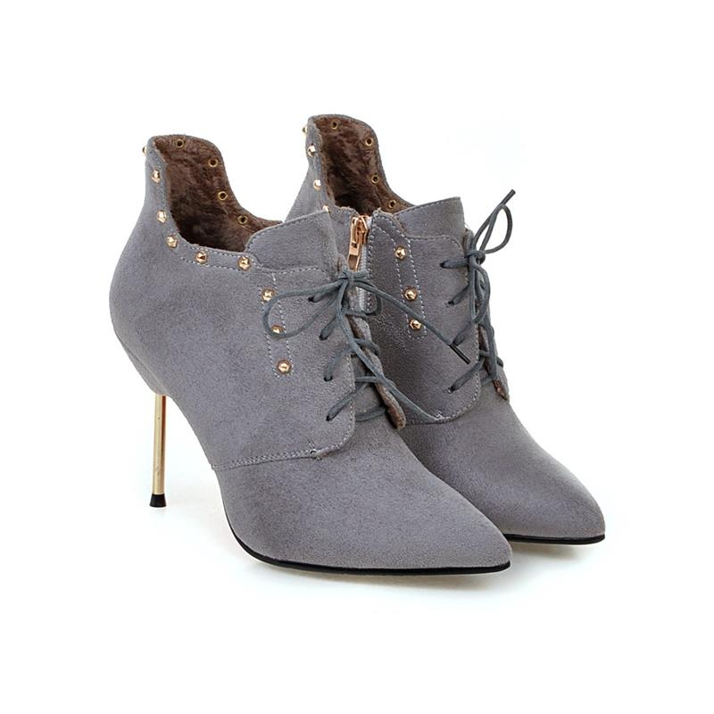 ASUMER 2018 autumn winter sexy women ankle boots lace up with rivets pointed toe thin heels pu nubuck leather fashion boots