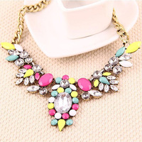 Hot Selling New Arrival Chunky Necklace Chain Multicolor Rhinestone Water Drop Shourouk Statement Choker Necklace N1688