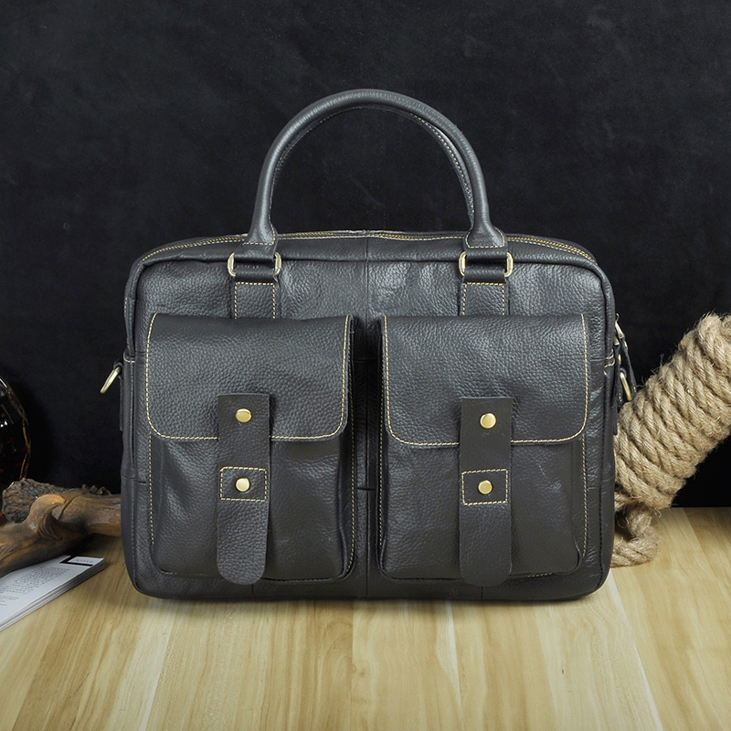 Men Quality Leather Antique Travel Business Briefcase 14