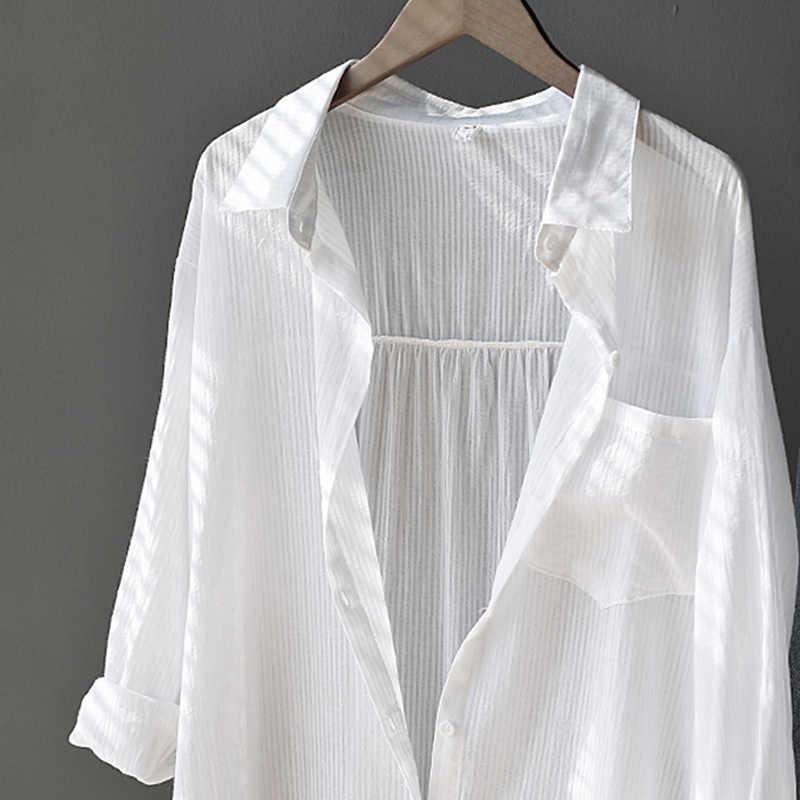 Printemps automne blanc femmes chemise à manches longues bouton poche bureau dame femmes lâches chemises 2020 été simple boutonnage femme hauts