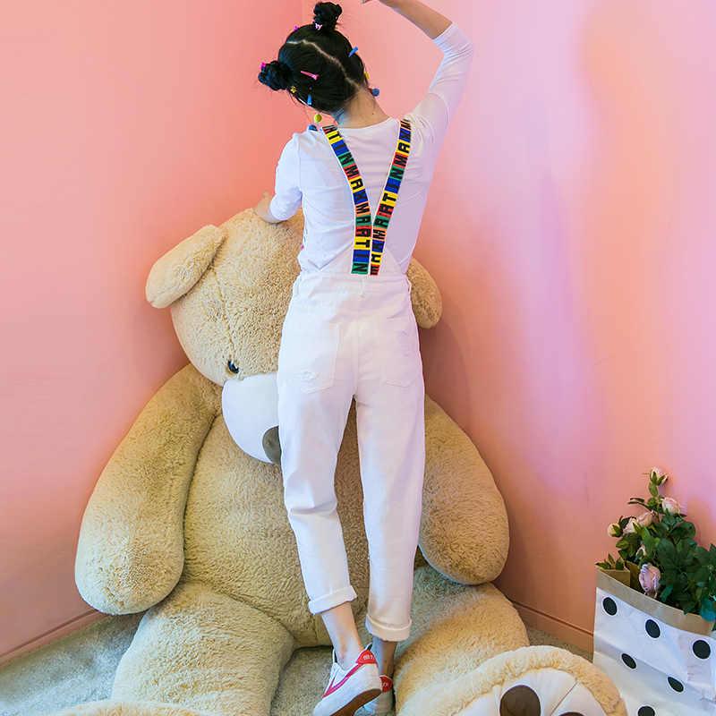 Женские джинсовые комбинезоны 2019 Весенние новые джинсовые комбинезоны модный принт уличная комбинезон женские s длинные прямые брюки комбинезоны
