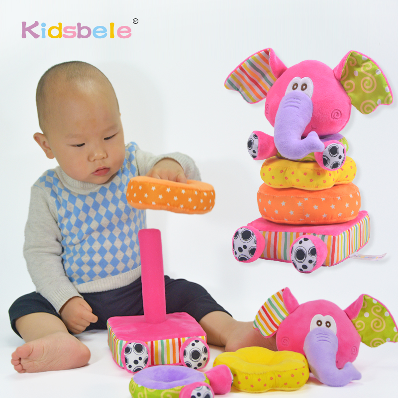 Baby Plush Toys Soft Pink Elephant Stackable Baby Rattle Toys For Children 0 12 24 Months Cotton Rings Educational Juguetes