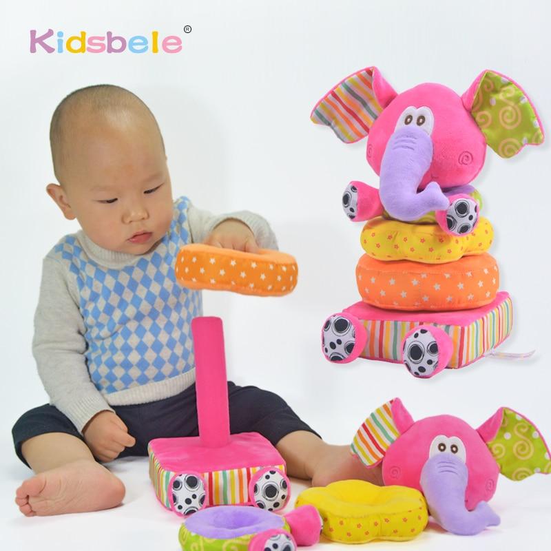 Детские плюшевые игрушки, мягкие розовые слон, штабелируемые детские погремушки, игрушки для детей 0 12 24 месяцев, хлопковые кольца, развиваю...