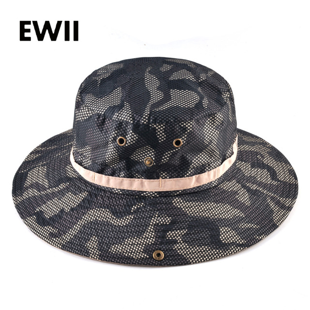 Breathable sun hats for men camouflage bucket hat girl wide brim beach caps  men visor panama cap women fishing boonie chapeu e431056c436