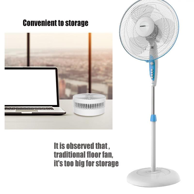 3 en 1 USB Mini Portable petit ventilateur de sol pliant multi-fonction batterie interne Rechargeable été pour bureau étudiant - 3