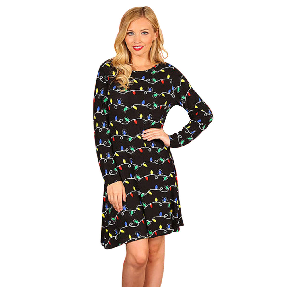 Christmas dress casual - Women Sexy Christmas Dresses For Ladies Oneck Bulb Print Long Sleeve Casual Mini Club Dress New