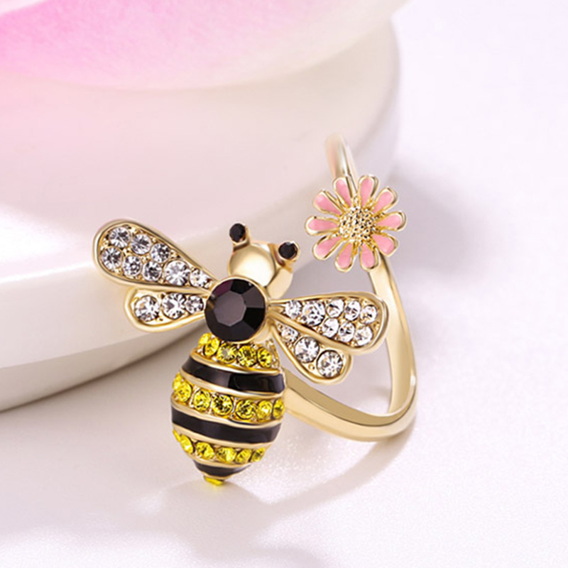 Gold with Rhinestone black pink Enamel Queen Bee Ring~ Adjustable gift idea free ship 12pcs/lot ...
