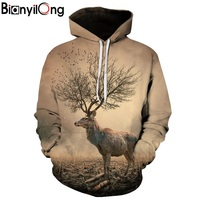 BIANYILONG Hoodies Men 3D Autumn Tree Antlers Printed Autumn Winter Tracksuit Men Clothing Casual Sportswear Sweatshirt