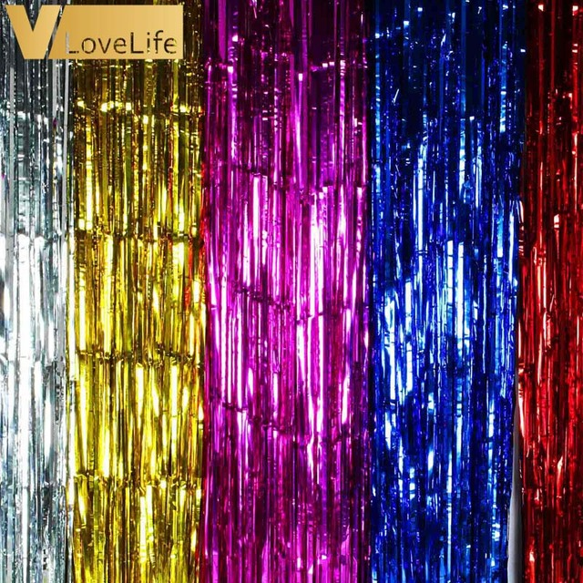 1M X 2 Meters Gold Foil Fringe Tinsel Curtain Tassel Garlands Wedding Photography Backdrop Birthday Party