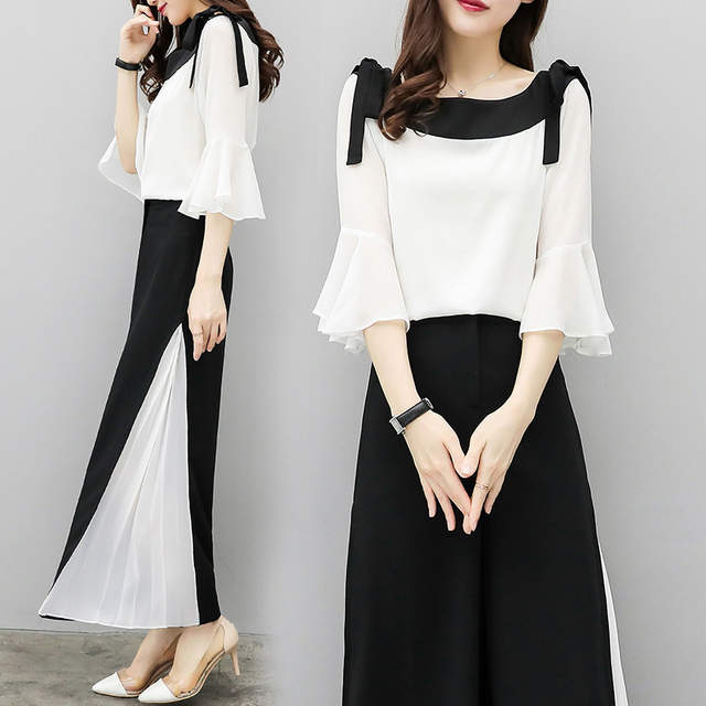 70d0dc9e1bf8 2019 Summer Set New Fashion Wide Leg Pants Chiffon Suit Two Piece Set Women  Chiffon Flare Blouse And Skirt Pant Suits Sets-in Women s Sets from Women s  ...