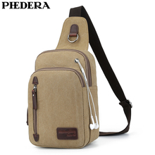PHEDERA New High Quality Canvas Male Chest Bags Casual Travel Men Messenger Bag Khaki Coffee Black Outdoor Mens