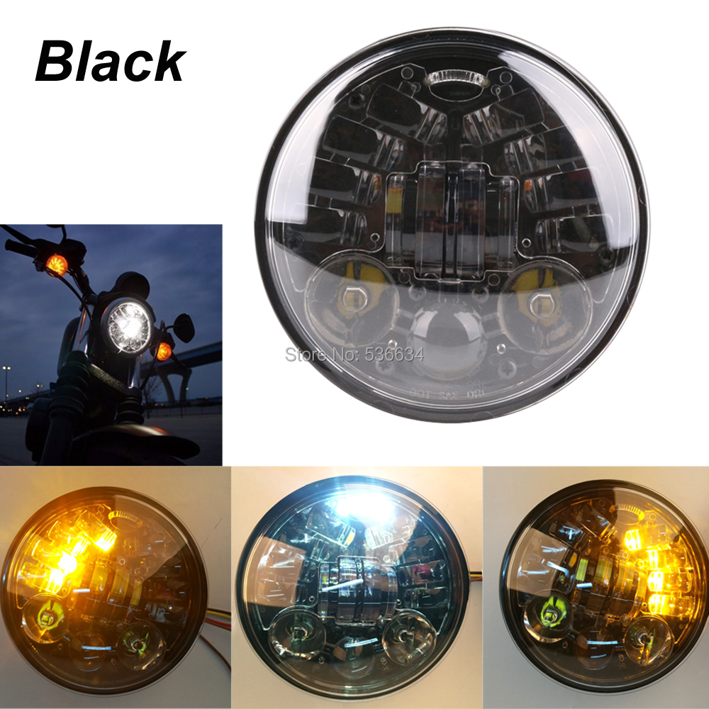 5-3/4 LED Projector Daymaker Motorcycle Headlight with Amber Ring DRL Light For 2010-2017 Fourty Eight Sportster 48(XL1200X) 5 75 led motorcycle headlight projector daymaker drl lights for harley 5 3 4