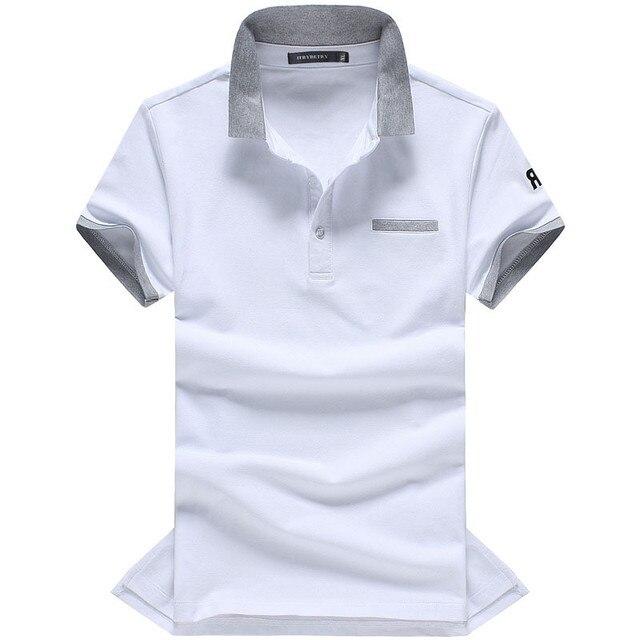 Весна Лето Мужская Polo Рубашки Модный Бренд С Коротким Рукавом Белый Черный Зеленый Solid Polo Shirt Camisa Polo Masculina Polo Shirt