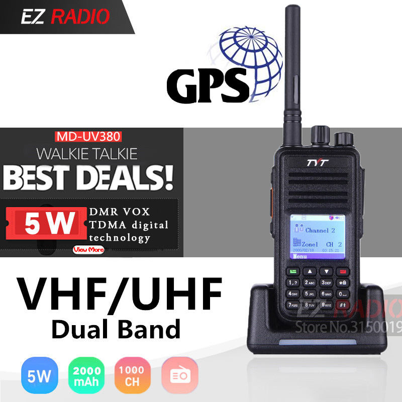 Upgrade TYT MD-380 GPS DMR Radio MD-UV380 Tier1/2 UHF VHF Dual Band 5W Digital Walkie Talkie Md380 MD-390 Baofeng DM-5R DM-8HX