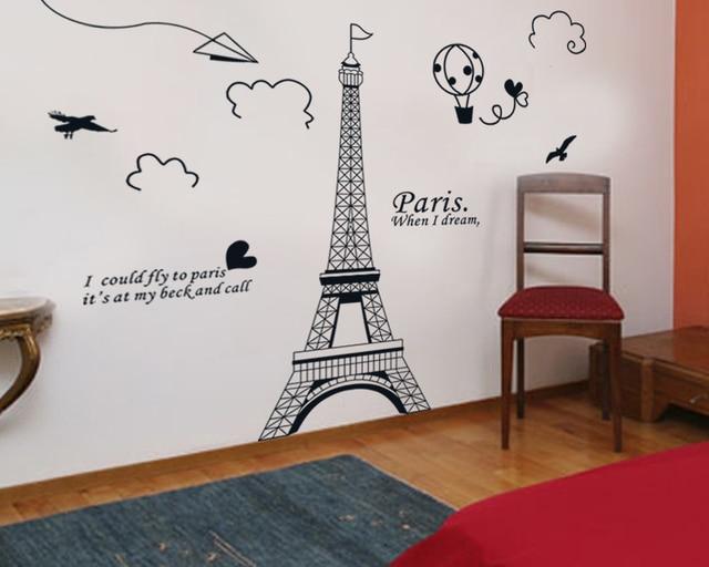 Francese Parigi Torre Eiffel costruire Wall Stickers Murale ...