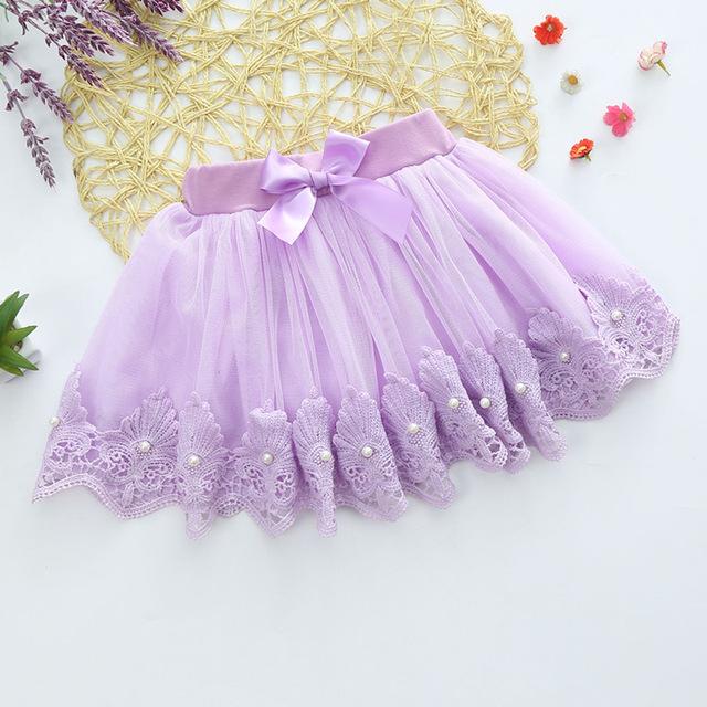 Falda de encaje niña 360 grados de cuentas de encaje arco forro de algodón de gasa faldas de Todo para la Ropa de niños y accesorios