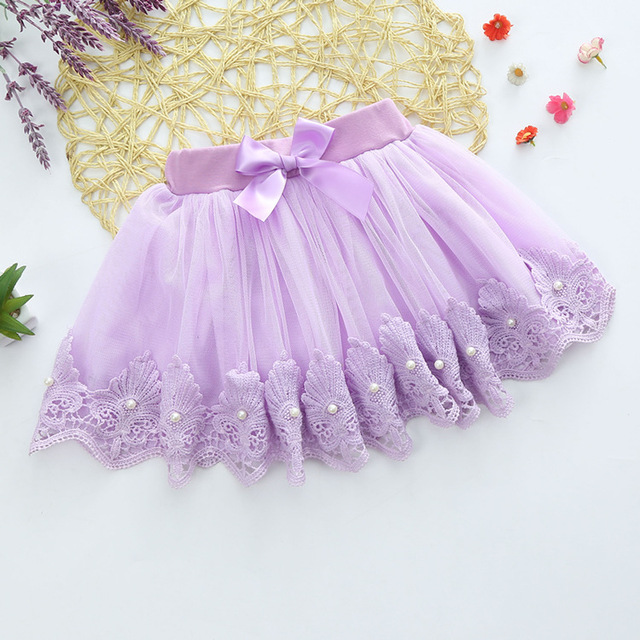 girl lace skirt 360 degree bow beaded lace cotton lining gauze skirts Everything for children Clothing and accessories