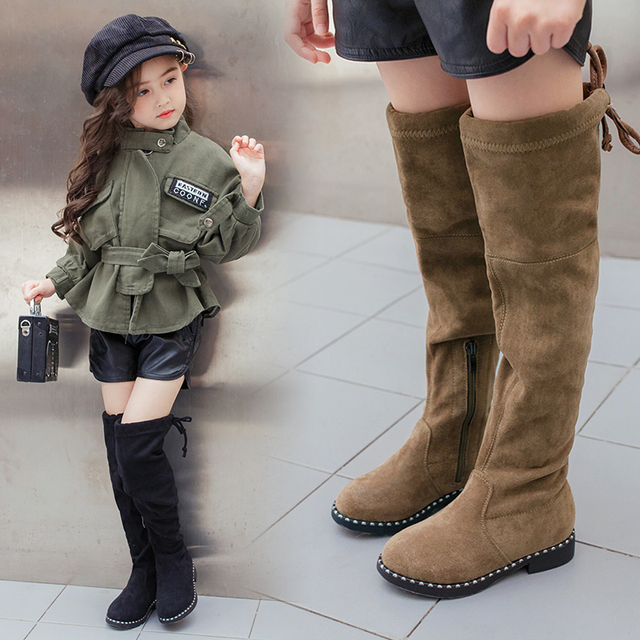 ca0dc235b7c LIULIVERSON~Gorgeous Baby Girls Over Knee Long Boots Studded Plush Real  Leather Shoe for Kid Camel Black Children s High Boot