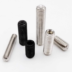 50pc M2 M2.5 M3 M3.5 M4 M5 M6 DIN916 304 stainless Black grade 12.9 steel Hex Hexagon Socket Allen Cup Point Grub Screw Set Bolt(China)