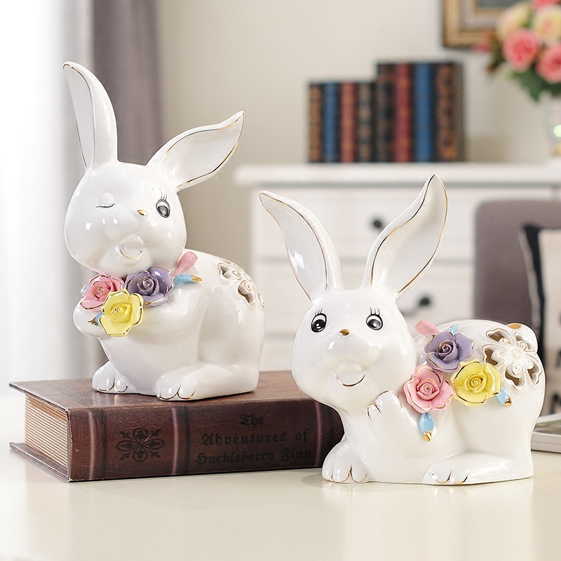 white creative ceramic Cartoon rabbits statue home decor crafts kids room decoration objects ornament porcelain animal figurines in Figurines Miniatures from Home Garden