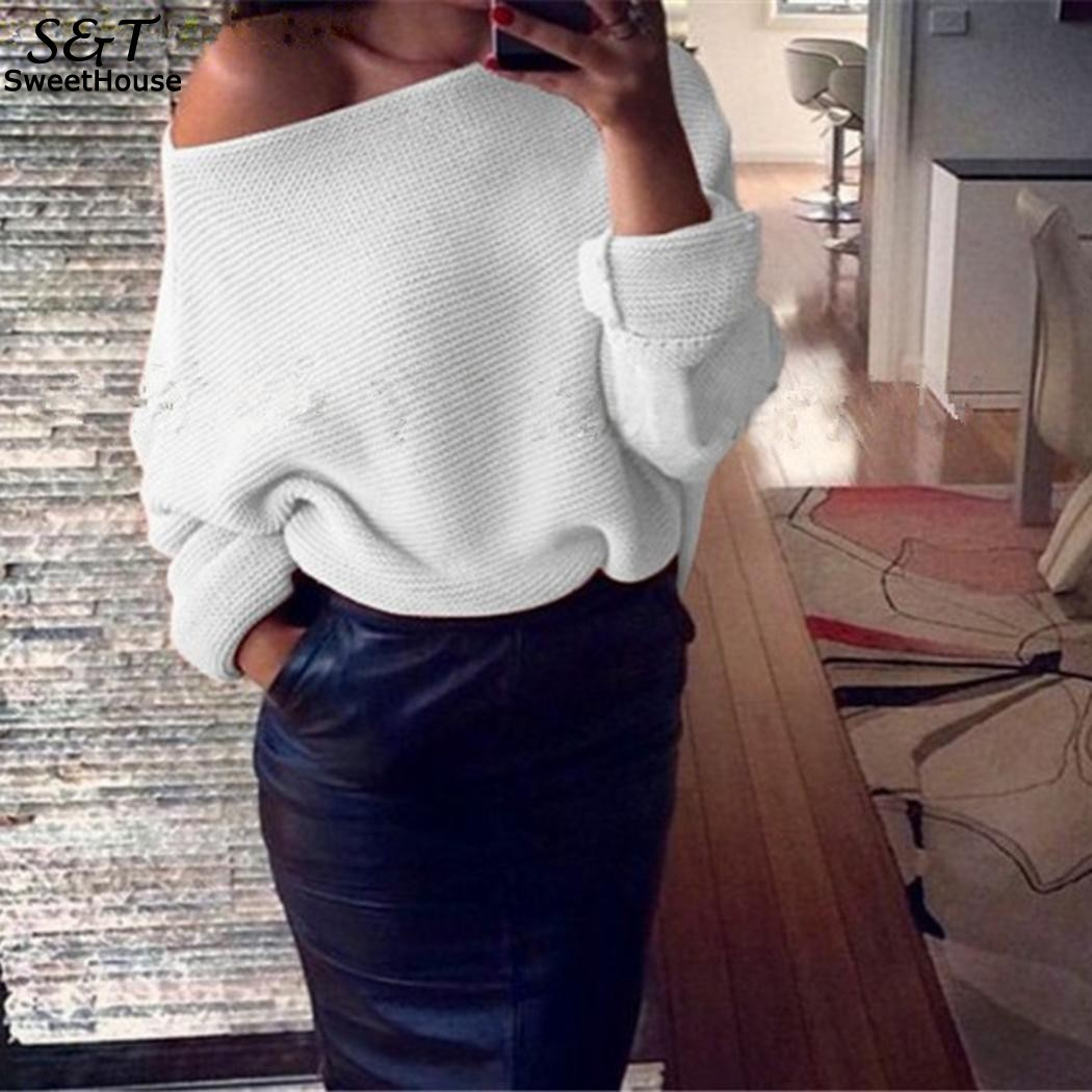 Winter Sweater Women Casual 2017 Christmas Sweater Women Sweaters and Pullovers Off Shoulder Solid Oversize Knitted Sweater Top