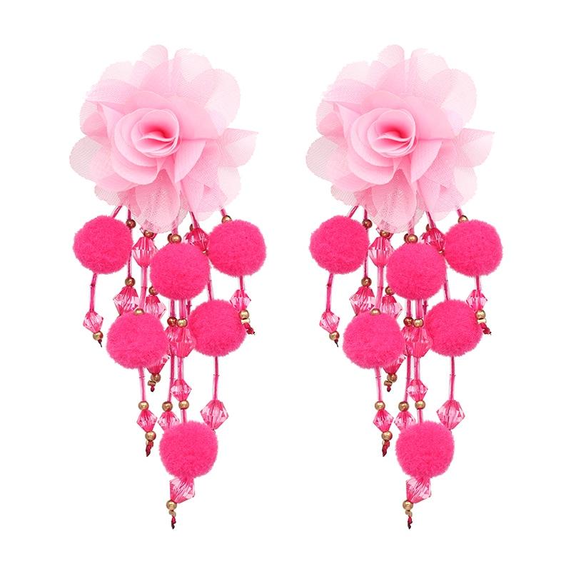 JUJIA Bohemian Long Flower Earrings Pom Pom Big Statement Earrings Fringe Drop Earrings Women Jewelry 13