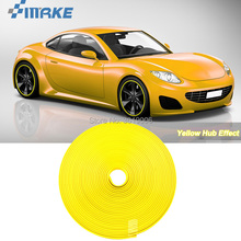 цена на smRKE 8M Car Wheel Hub Rim Edge Protector Ring Tire Strip Guard Rubber Stickers On Cars Yellow Car Styling