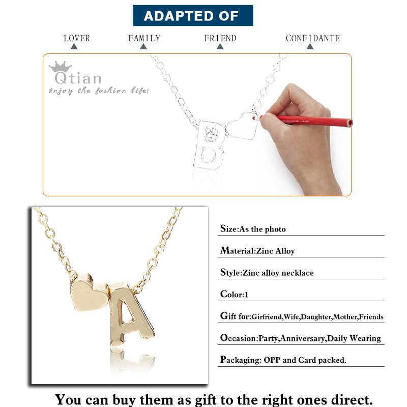 Naszyjnik naszyjnik damski z wisiorkiem serce początkowy Tiny złoty łańcuszek harajuku chokers naszyjniki dla kobiet naszyjnik listowy niestandardowy choker