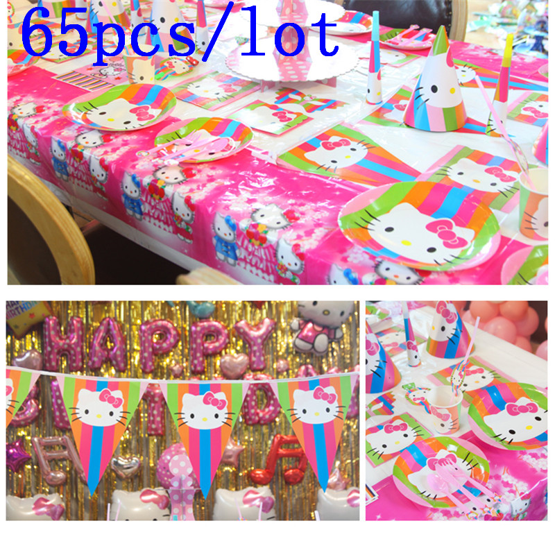 Cute Hello Kitty Theme 65Pcs Cup Plate Straw Gift Bag Girl Birthday Wedding Party Horn Invitation Card Banner Decoration Supply In Disposable