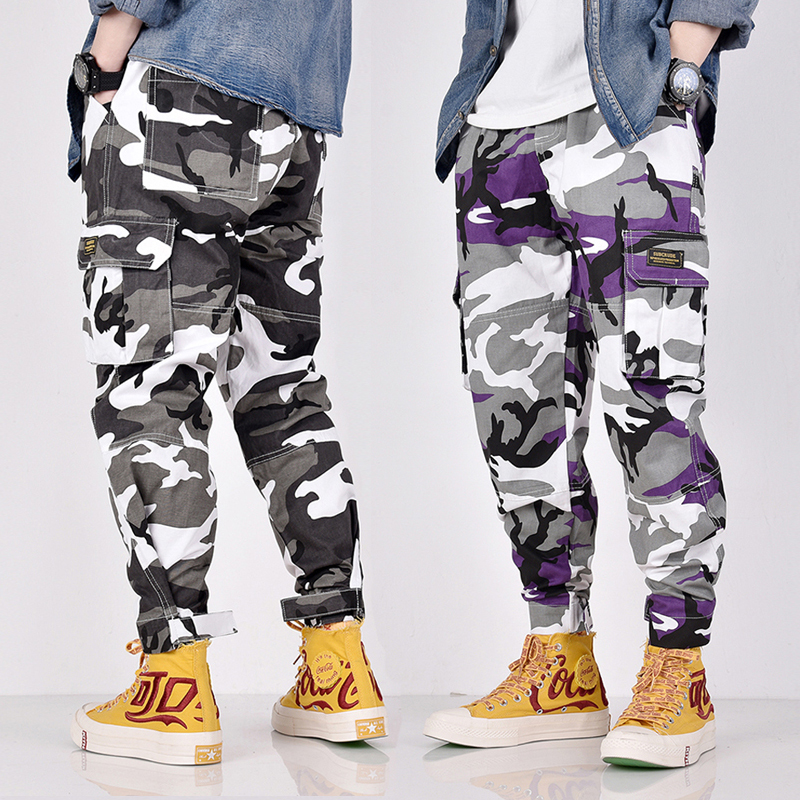 Camouflage Military Casual Pants Men Loose Fit Elastic Waist Slack Bottom Jogger Pants Fashion Streetwear Big Pocket Cargo Pants