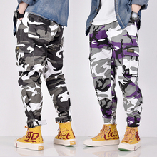 Camouflage Military Casual Pants Men Loose Fit Elastic Waist Slack Bottom Jogger Pants Fashion Streetwear Big Pocket Cargo Pants