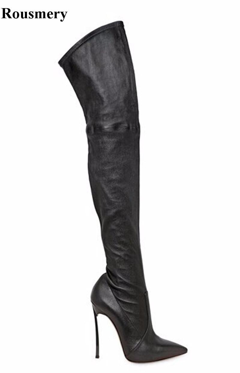 Высокое Качество Женщины Моды Остроконечные Toe Высокий Каблук Над Коленом Сапоги Замша Кожа Сексуальный Длинный Стилет Каблук Сапоги Туфли