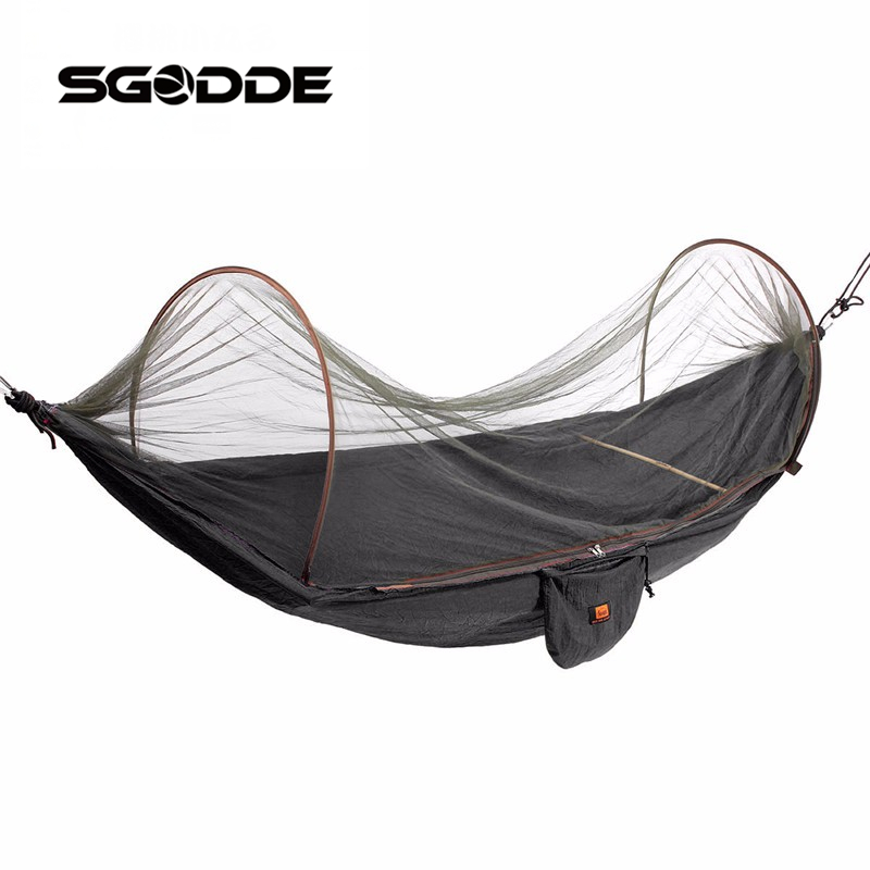 SGODDE Outdoor Parachute Cloth Fabric Hammock Portable Camping Hammock With Mosquito Nets Single Person Hammock Swing rede de mosquito garden hammock swing portable parachute hammock