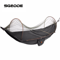 SGODDE Outdoor Parachute Cloth Fabric Hammock Portable Camping Hammock With Mosquito Nets Single Person Hammock Swing